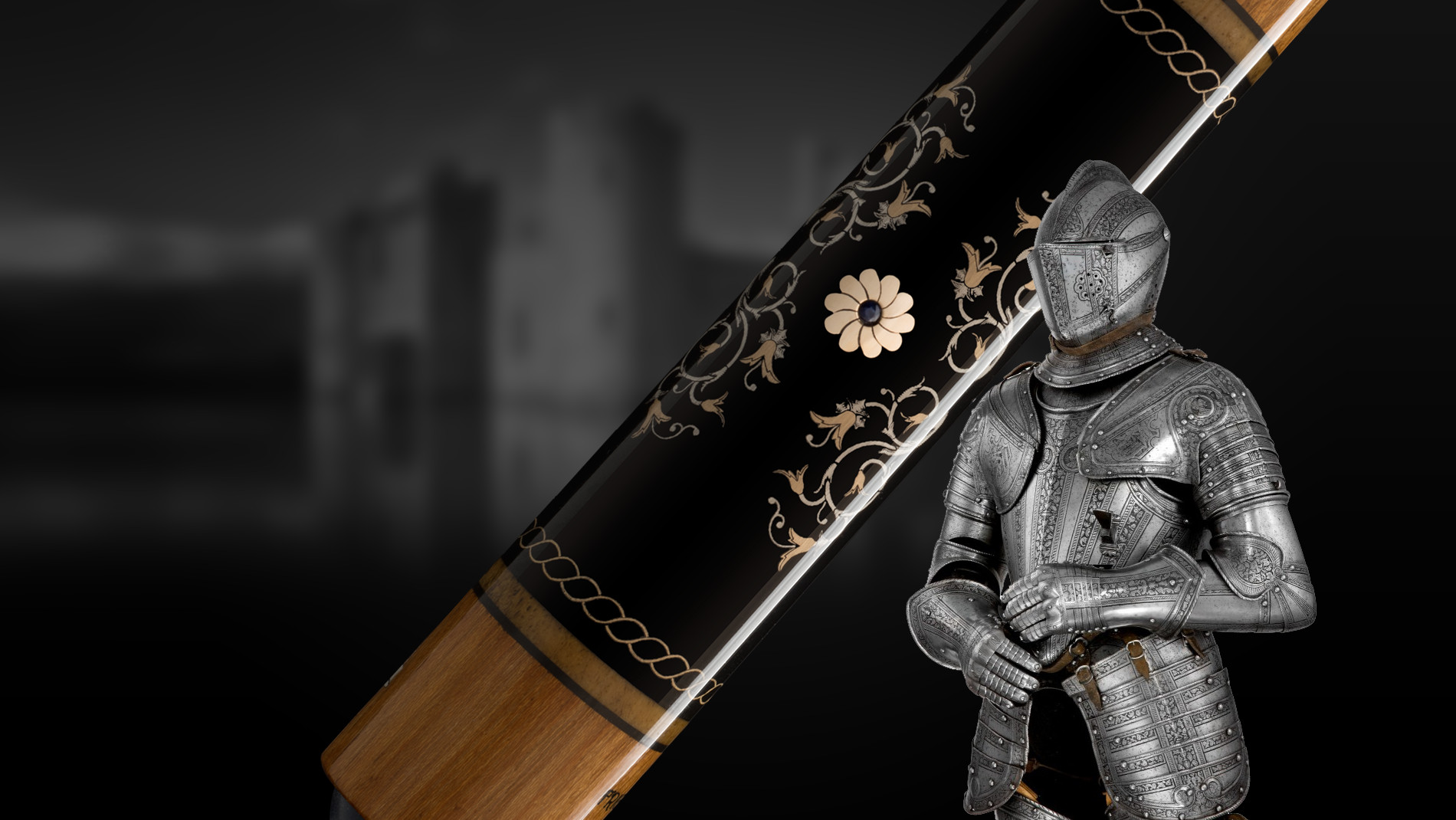 Close-up of the Silver Knights cue with knight in the front and castle in the background